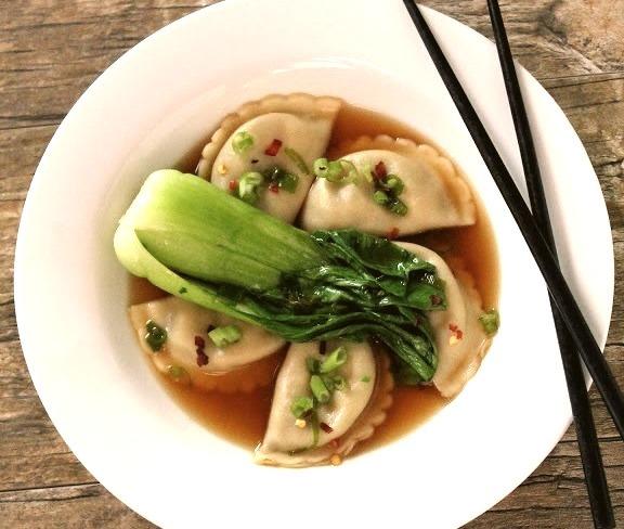Korean Mandu Dumplings with Bok Choywith recipe (link)