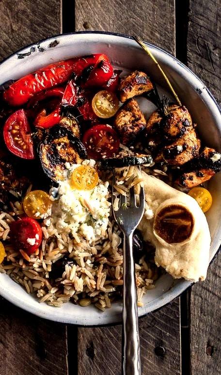 Greek Chicken Souvlaki and Rice Pilaf Plates with Marinated Veggies and Feta Tzatziki